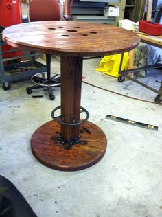 High bar top cable spool table by LeCray on Etsy, $400.00