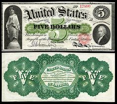 US 5 Dollar Note 1862 Mar 10 Serial# 16503 Signatures: Chittenden / Spinner Statue of Freedom Portrait: Alexander Hamilton Fiat Money, Legal Tender, Gold Rate, Old Money, Old Coins, Antique Coins, Coin Collecting, Money Tips, Peace And Love