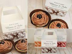 chocolate & autumn colors wedding, autumn favor boxes