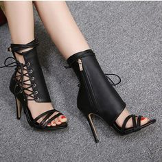Sexy Black Women Sandals High Heels Ankle Boots