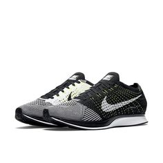 a9aa97ef392 Nike Flyknit Racer Running Shoes Mens 13 Black White Volt 526628 011  Nike   RunningShoes