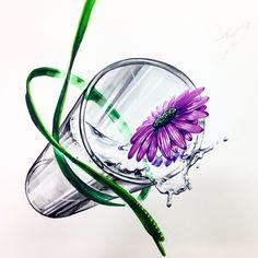 유리컵 물 꽃 끈 개체표현 기초디자인 인천학익 Glass Vase