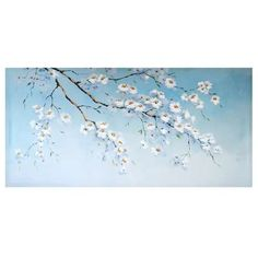 Our large floral wall canvas depicts a faded blue sky with branches of white blossom in soft tones and comes complete with fittings. Wall Canvas, Canvas Prints, Wall Art, Floral Wall, Grey Walls, Soft Furnishings, My Dream Home, Art Projects, Tapestry