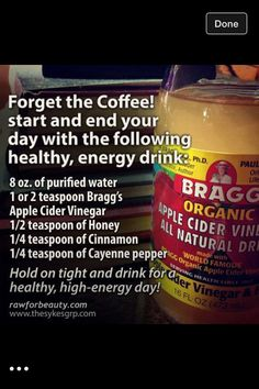 Start your day with this natural and healthy energy drink *apple cider vinegar *honey *cinnamon *cayenne pepper detox smoothie before bed Healthy Detox, Healthy Life, Easy Detox, Healthy Weight, Sante Bio, Detox Kur, Cleanse Detox, Juice Cleanse, Smoothie Cleanse