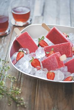 Ice cream and ice tea on a hot day Iced Tea, Skewers, Kitchenware, Watermelon, Ice Cream, Fruit, Design, Products, No Churn Ice Cream