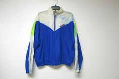 Windbreaker . 80s 90s blue white and green hooded jacket by june22