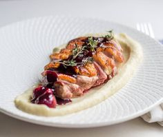 Duck Breast with Cherry Jus and Celeriac Puree