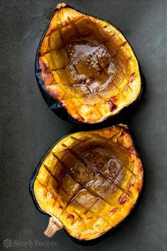 Classic Baked Acorn Squash ~ Easy baked acorn squash recipe, perfect for the fall.  Squash is cut in half, insides scooped out, then baked with a little butter, brown sugar, and maple syrup. ~ SimplyRecipes.com