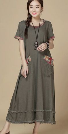 Maxi summer dress/ vintage cotton linen dress/ by SangandLinen