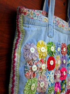 Upcycled Lined Tote/Market Bag with Vintage Yo-Yos, Pearl Buttons and Beaded Ric-Rac.