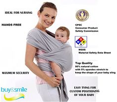 227fc63ccde Amazon.com   Super Soft Baby Sling Wrap Carrier -Free Adorable Baby  Hat-Natural Cotton (GRAY)   Baby