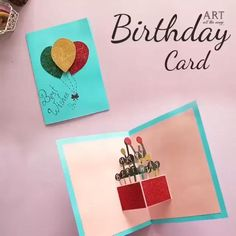 Creative Birthday Cards, Birthday Cards For Friends, Handmade Birthday Cards, Birthday Crafts, Origami Birthday Card, Happy Birthday Cards Handmade, Diy Pop Up Cards Birthday, Homemade Birthday Presents, Birthday Wrapping Ideas