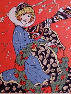 Art Deco Christmas Card * 1500 free paper dolls Christmas gifts artist Arielle Gabriels The International Paper Doll Society also free paper dolls The China Adventures of Arielle Gabriel *