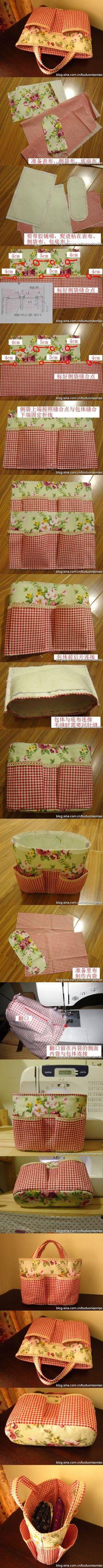 cómo coser una bolsa sobre tu hombro con tu propio patrón de foto de manos