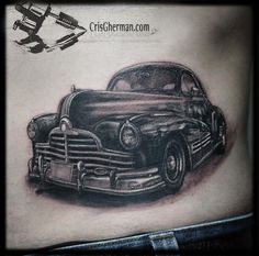 I have a friend who wants a car tattoo. Def will recommend him Cris Gherman. Some call them tattoos, we call them ART! Car Tattoos, Weird Tattoos, Sleeve Tattoos, Tattoos For Guys, Hot Rod Tattoo, I Tattoo, Memories Faded, Irish Tattoos, Memorial Tattoos