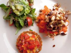Green salad, carrot ribon pasta and tomato tart.