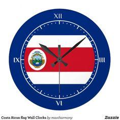 Costa Rican flag Wall Clocks