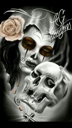 The nightmare walk Sugar Skull Tattoos, Sugar Skull Art, Sugar Skulls, Memento Mori, Aztecas Art, Chicano Love, Cholo Art, Lowrider Art, Skull Pictures
