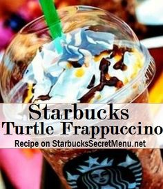 Starbucks Turtle Frappuccino turtle frappuccino Java Chip Frappuccino Add toffee nut syrup pump for a tall, 2 for grande, 3 for venti) Top with mocha and caramel drizzle Secret Starbucks Drinks, Starbucks Secret Menu Drinks, Starbucks Hacks, Coffee Frappuccino, Frappuccino Recipe, Frappe, Starbucks Strawberry Acai Refresher, Coffee Drink Recipes, Coffee Drinks