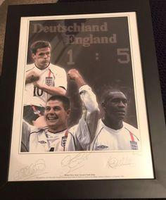 Steven Gerrard Michael Owen Emile Heskey Signed England 5-1 Germany Memorabilia