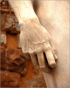 The hand of Michaelangelo's David - this has to be the most amazing sculpture ever... breathtaking the first time you see him!