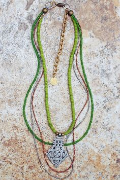 Everyday Long Green Glass, Copper and Silver Ethiopian Cross Necklace