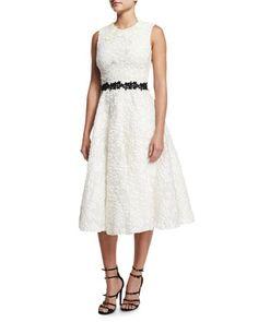 Sleeveless Floral-Jacquard A-Line Dress, White by Giambattista Valli at Bergdorf Goodman.