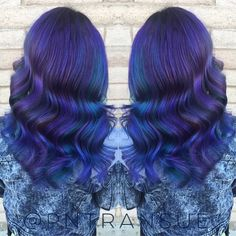 Beautiful multi-hued blue hair color and sexy Hollywood waves by Paige Transue. #hotonbeauty Blue Hair fb.com/hotbeautymagazine