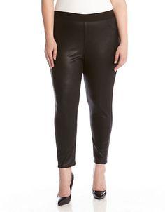 Karen Kane Plus Size Fashion  Black Faux Leather Leggings | Lord and Taylor  #Karen_Kane #Plus_Size #Fashion #KarenKane #Lord_and_Taylor