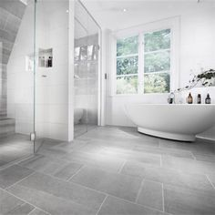 Stunning Bathroom with Bricmate Limestone Light Gray, Stunning Bathroom with Bricmate Limestone Light Gray …, White Bathroom Tiles, Grey Floor Tiles, Light Grey Bathrooms, Bathroom Makeover, Gray And White Bathroom, Bathroom Inspiration Grey, Grey Bathroom Floor, White Bathroom, Bathroom Design
