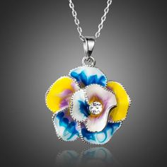 Oil Painting Pattern Flower and Stellux Austrian Crystal Fashion Necklace, Fashion Jewelry, Oil Painting Flowers, Stylish Rings, Fashion Capsule, Crystal Flower, Fast Fashion, Winter Fashion, Womens Fashion