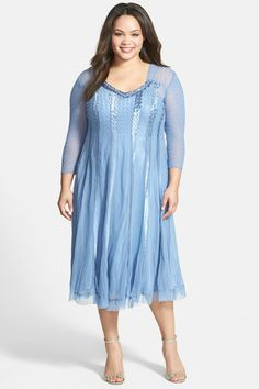 KOMAROV Chiffon & Charmeuse Stripe Dress (Plus Size) save -72% today