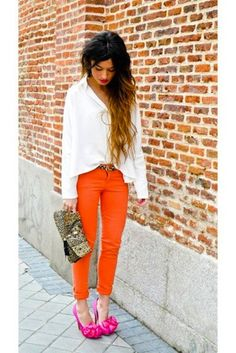 pink and orange, want these pants