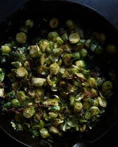 Cast iron Brussel sprouts with pancetta.