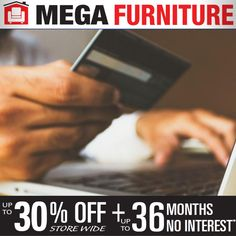 🤑 Watch your Wallet Wednesday! 💰   Did you know at Mega Furniture, we offer many options for all credit scores!   It is our mission to provide you the best way to make your home... well feel like home!   We're offering up to 30% off storewide with up to 36 Months No Interest!   Visit us online to learn more about our financing! Mega Furniture, Home Financing, Credit Score, Scores, Wednesday, Finance, Card Holder, How To Apply, Wallet