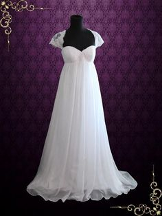 - Dress Info - Ordering at Ieie's - Custom Designs Classic empire waist chiffon wedding dress with a twist of modern elegance. Beautiful lace cap sleeves and keyhole back fabricated with soft chiffon Regency Wedding Dress, Causal Wedding Dress, Wedding Dress Chiffon, Lace Mermaid Wedding Dress, Bridal Wedding Dresses, Lace Wedding, Dream Wedding, Chiffon Gown, Wedding White