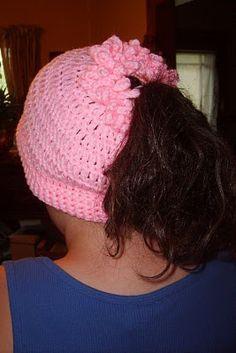 Free Crochet Pattern. PONY TAIL HAT: http://suzies-yarnie-stuff.blogspot.com/2010/05/ptc.html