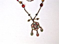 Vintage - Italian Micro Mosaic Flower Pendant & Dangling Charms-  Red Bead Stations-Antique Gold Chain