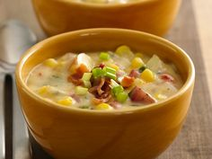 Southwest Potato Corn Chowder - This creamy hearty chowder is so delicious, you won't believe it is made with fat-free yogurt and reduced-fat Cheddar cheese.