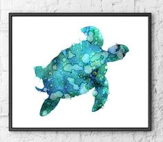 Nautical Blue Ocean Turtle Watercolor Art by Watercolorflower
