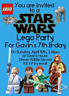 Star Wars Lego Party Invitation by mastomama on Etsy, $15.00 Lego Birthday Party, Star Wars Birthday, Star Wars Party, 6th Birthday Parties, Birthday Ideas, Lego Party Invitations, Invites, Invitation Templates, Lego Star Wars