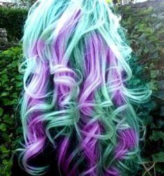 Blue/green and purple hair