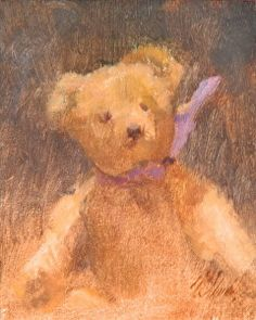 Steiff Bear with Purple by Roberta Goschke in the FASO Daily Art Show