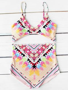 024a56bd0f SHEIN offers Aztec Print High Waist Bikini Set   more to fit your  fashionable needs.