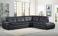 Upgrade your living room with this modern style Leather-Match sectional set. This sectional set features uniformed and relaxed arm and soft leather. The tufted back and seat cushions gives this sectional a more appealing special look. Clean-cut chrome plated legs provide a slightly elevated effect. This luxurious sectional set will add refinement to your home.