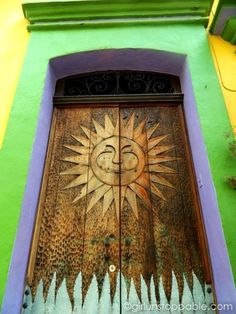 Colorful decorative doorway in Oaxaca, Mexico