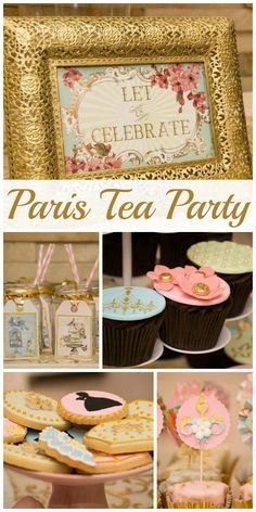 A Marie Antoinette Parisian tea party with gorgeous party cake, cupcakes and  decorations!  See more party planning ideas at CatchMyParty.com!