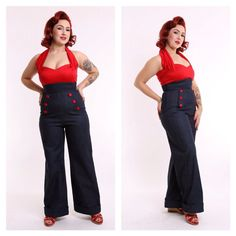 Land Ahoy - 40s Denim Wide Leg Jeans - Vintage Swing Rockabilly High Waisted Sailor Pants Pinup on Etsy, £79.66