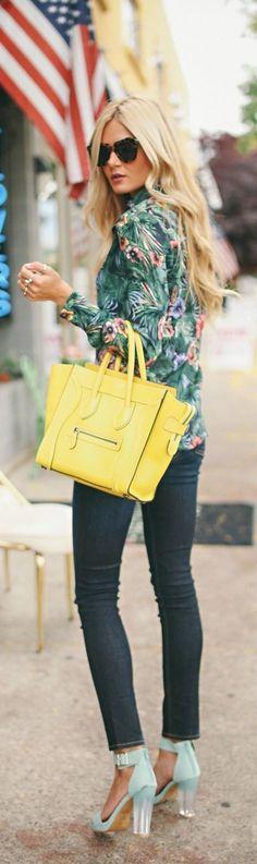 Tropical Print + Lucite Heels with lemon yellow handbag - fall street style