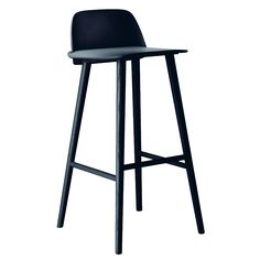 Muuto Nerd Bar Stool - The Nerd Chair is comfortable and aesthetically pleasing. With its unique yet simple Scandinavian look, the Nerd Chair won the Muuto Talent Award in High Bar Stools, Bar Stool Chairs, Black Bar Stools, High Stool, Counter Bar Stools, Kitchen Stools, Room Chairs, High Chairs, Dining Chairs